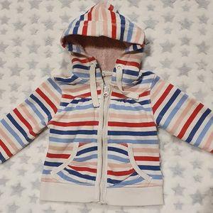 Size 2 Pumpkin Patch striped hooded jacket